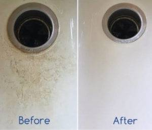 Before and After cleaning with Bleach