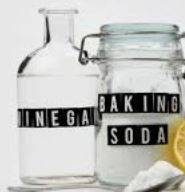 Vinegar and baking soda to clean porcelain sink