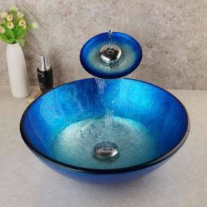 Colored Tempered Glass Bathroom sink.