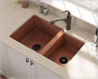 Kitchen sink made of copper material