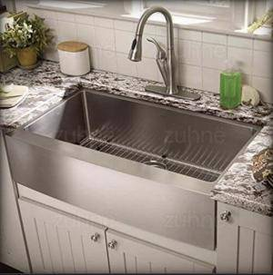 Zuhne Genoa 32 Undermount Double Bowl 16 Gauge Stainless Steel Kitchen Sink in action