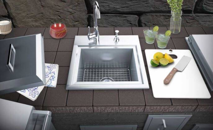 SUNSTONE BPS21 Outdoor Sink with Lid and Cutting Board