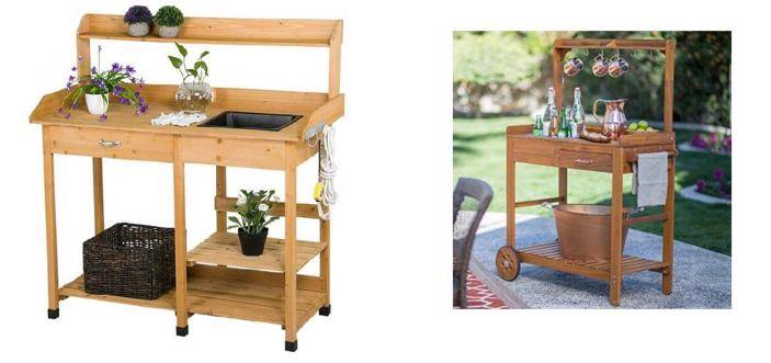 Wooden Potting Bench with Sink and Drawer