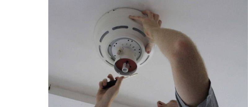 installing a ceiling fan on a porch
